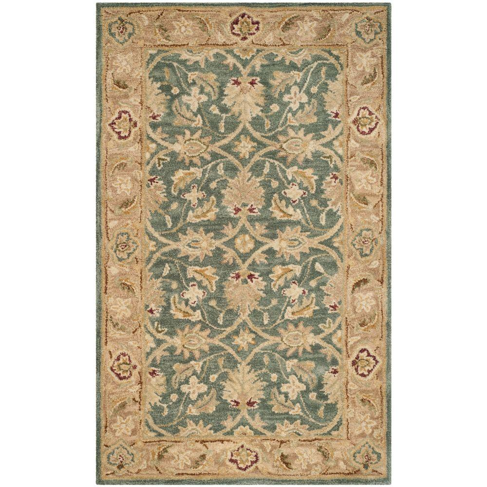 Antiquity Teal Blue/Taupe (Teal Blue/Brown) 3 ft. x 5 ft. Area Rug