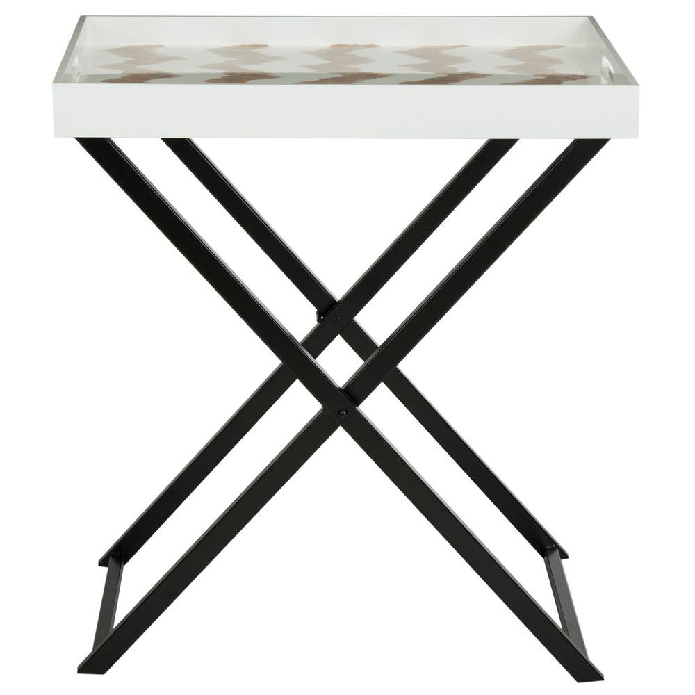 Abba Warm Grey and White Tray Side Table