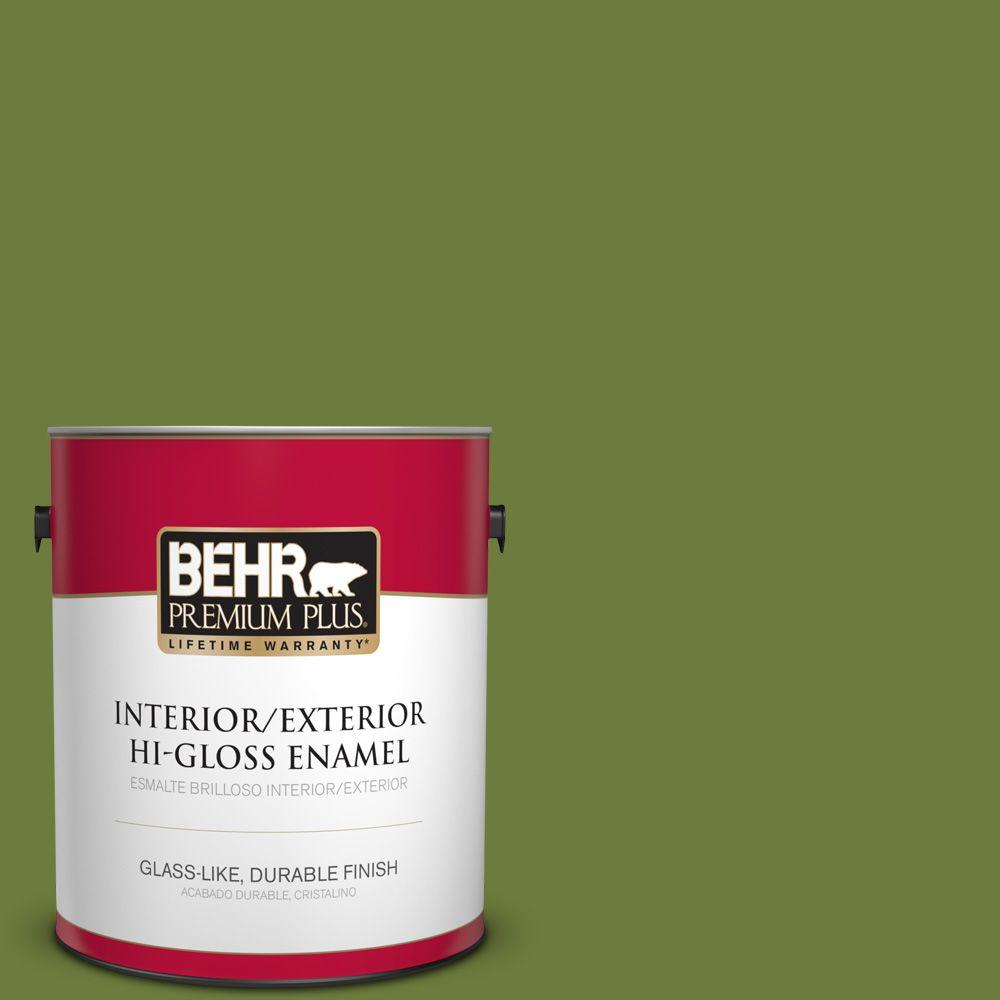 BEHR Premium Plus 1 gal. #HDC-SM16-11 Hot Dog Relish High-Gloss Enamel