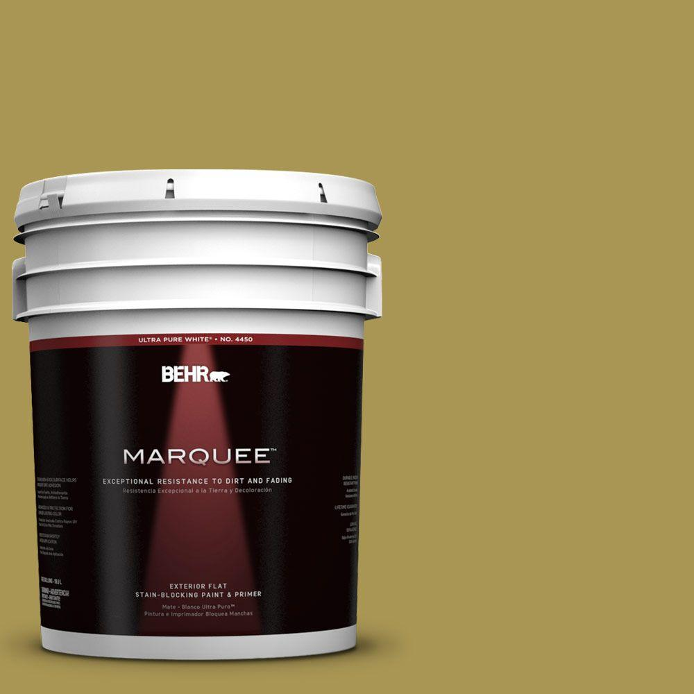 BEHR MARQUEE 5-gal. #390D-6 Spring Moss Flat Exterior Paint-445305 - The