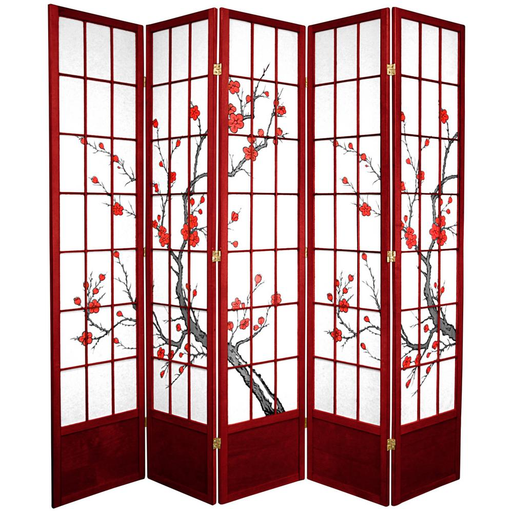 Oriental Furniture 7 ft. x 7 ft. 5-Panel Rosewood Cherry Blossom