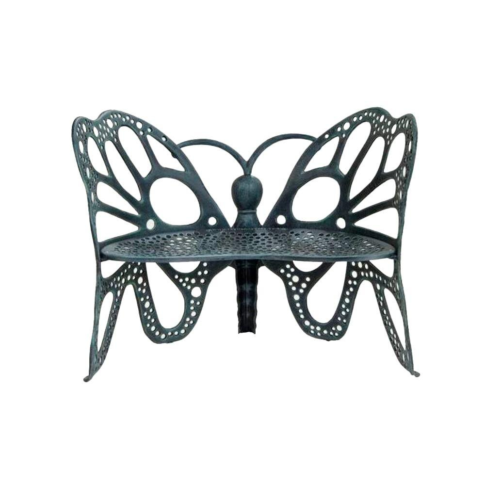 FlowerHouse Antique Butterfly Patio Bench-FHBFB06A - The Home Depot