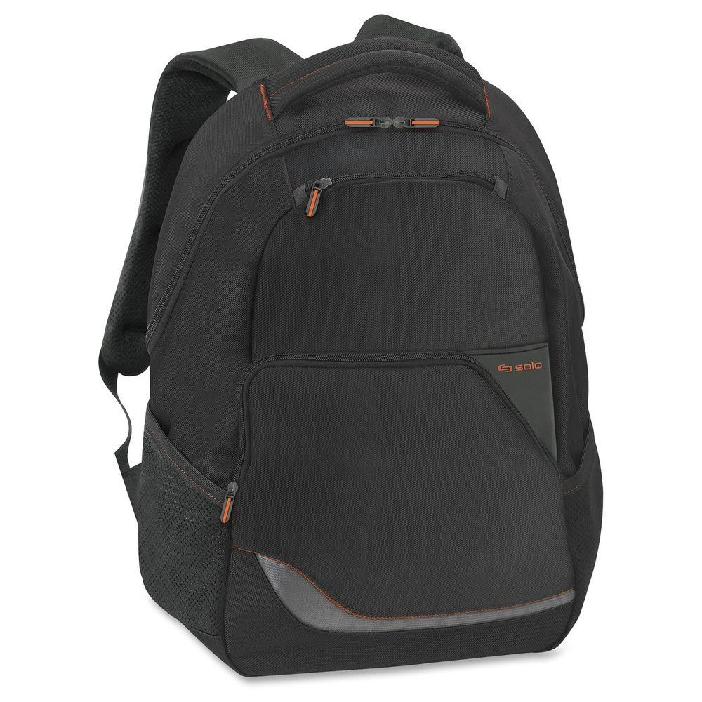 16 in. Black Polyester Vector Notebook Backpack with Shoulder Strap and