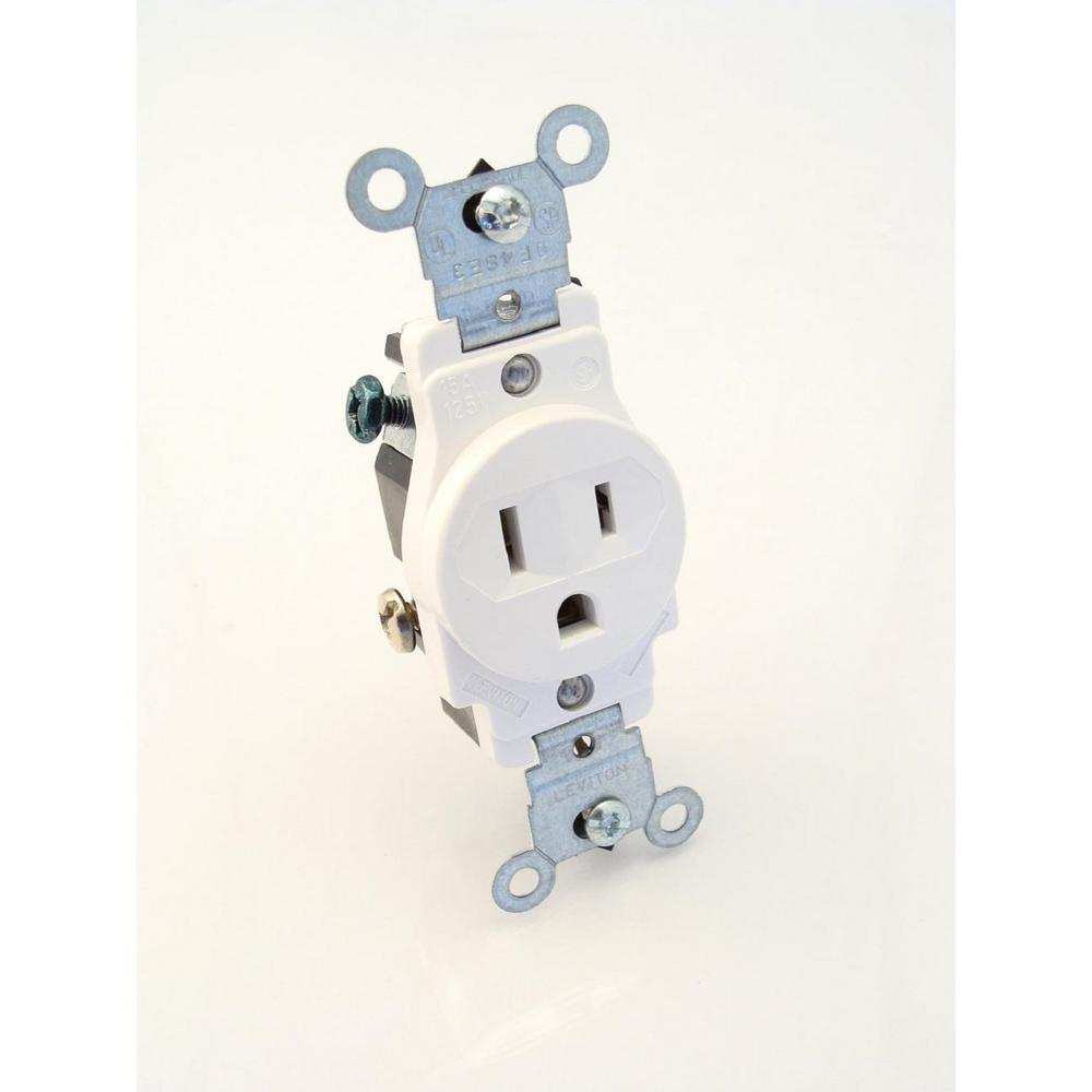 15 Amp Commercial Grade Grounding Single Receptacle, White