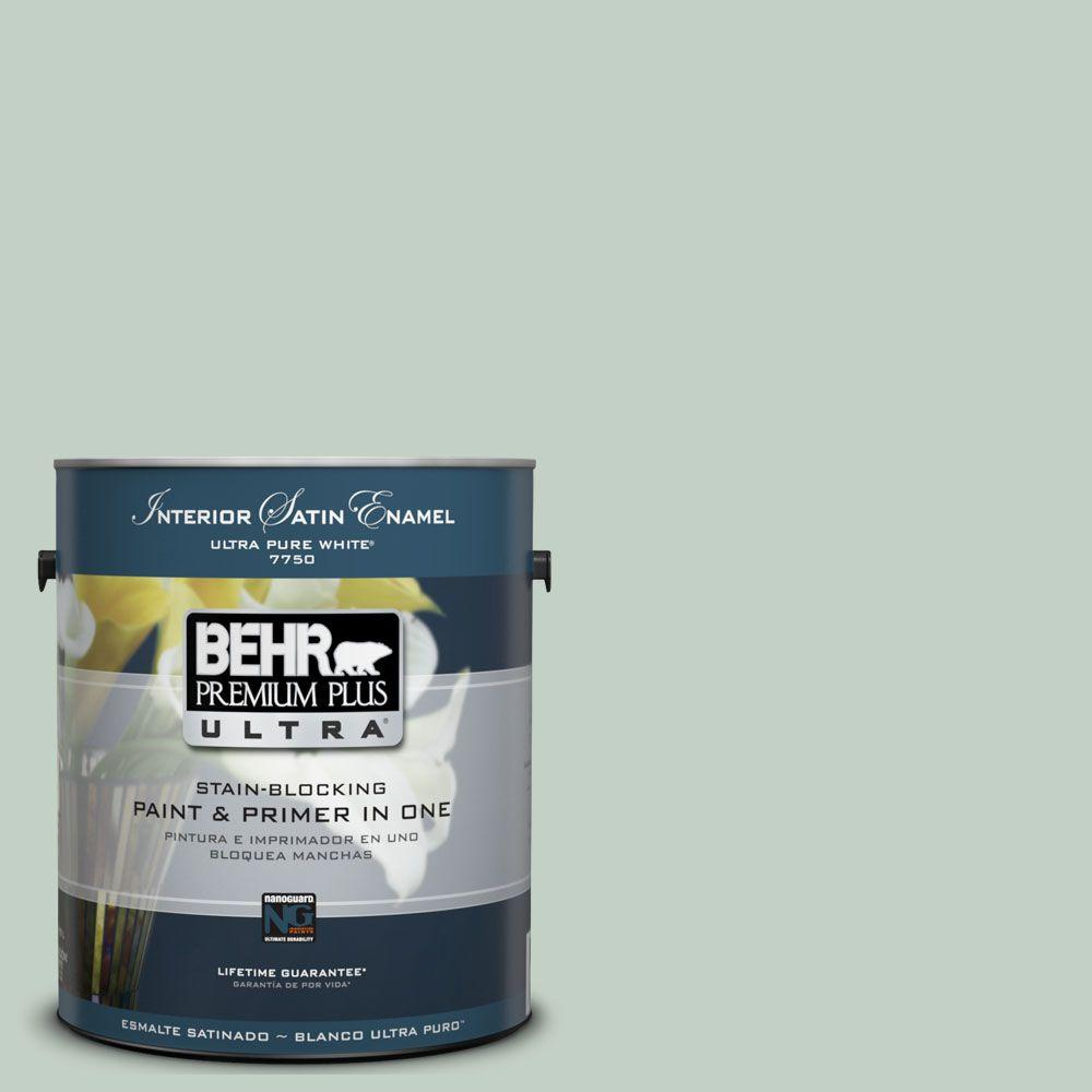 BEHR Premium Plus Ultra 1-Gal. #UL220-13 Frosted Jade Interior Satin Enamel Paint