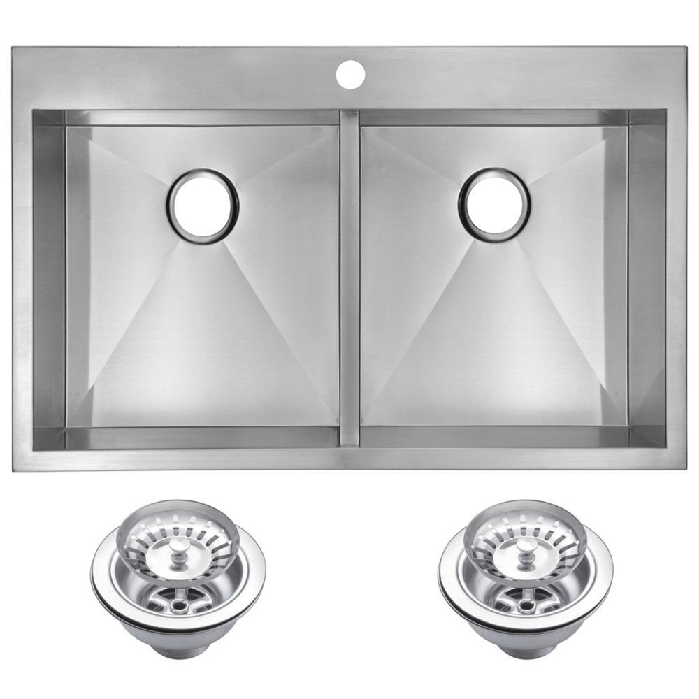 Drop-In Stainless Steel 33 in. 1 Hole 50/50 Double Bowl Kitchen