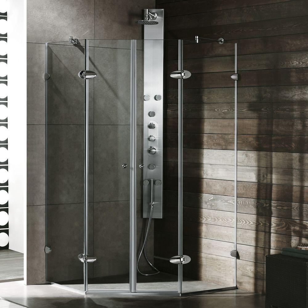 Gemini 46.625 in. x 73.375 in. Semi-Framed Neo-Angle Shower Enclosure in Chrome with Clear Glass
