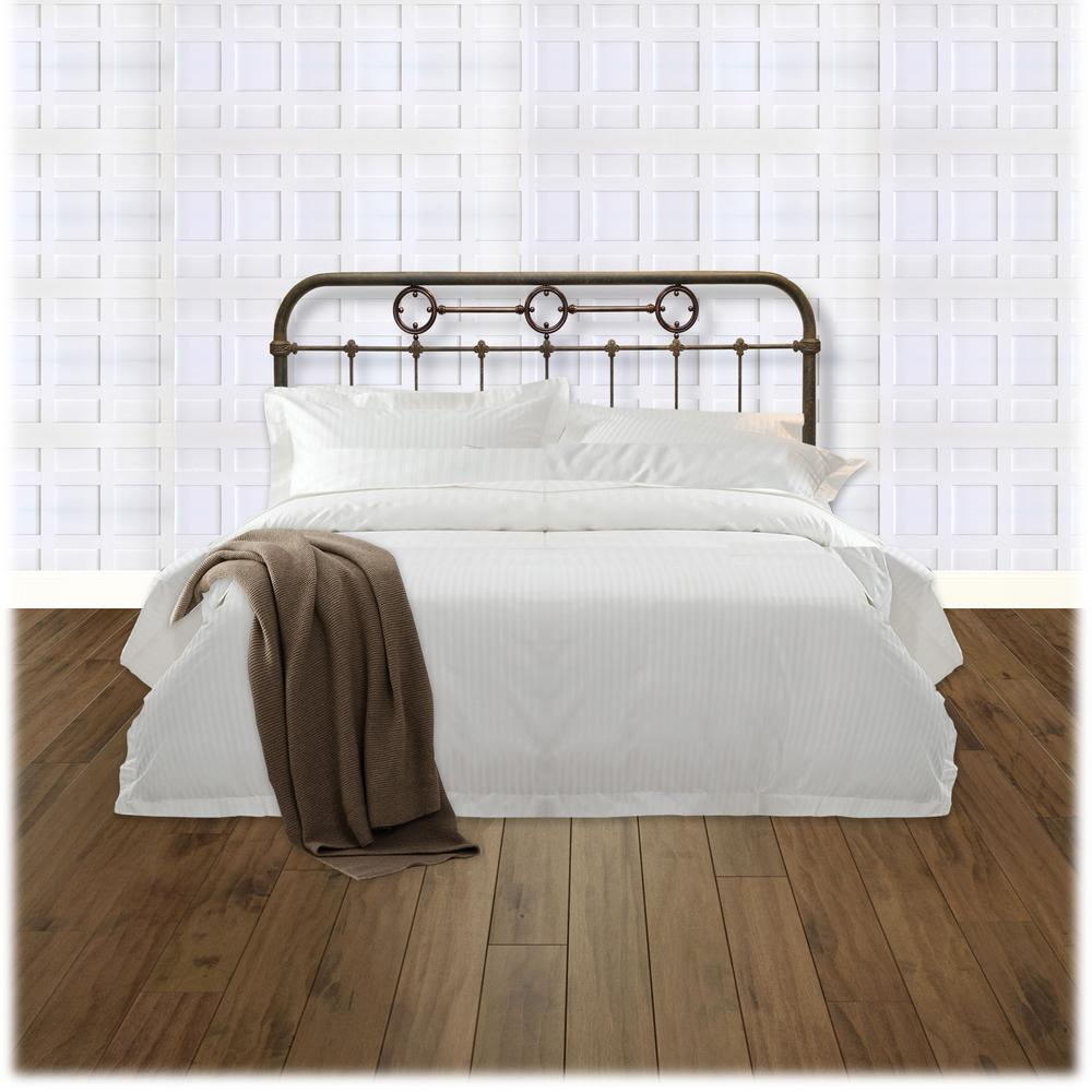 Madera Full-Size Metal Headboard Panel with Brass Plated Designs and Castings
