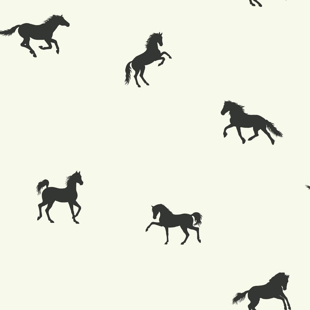 56 sq. ft. Brothers and Sisters V Hooray For Horses Wallpaper, White/Black