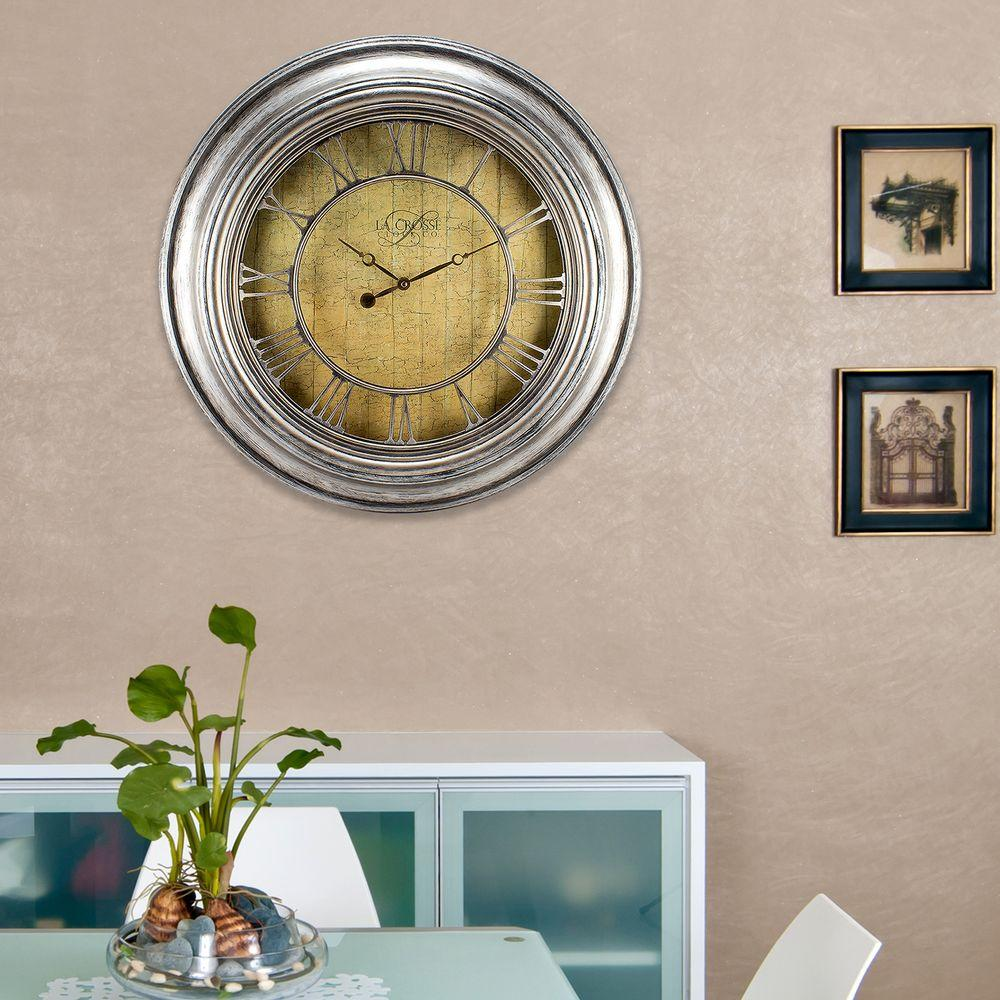 24 in. H Round Silver Weathered Analog Wall Clock with Cut-Out
