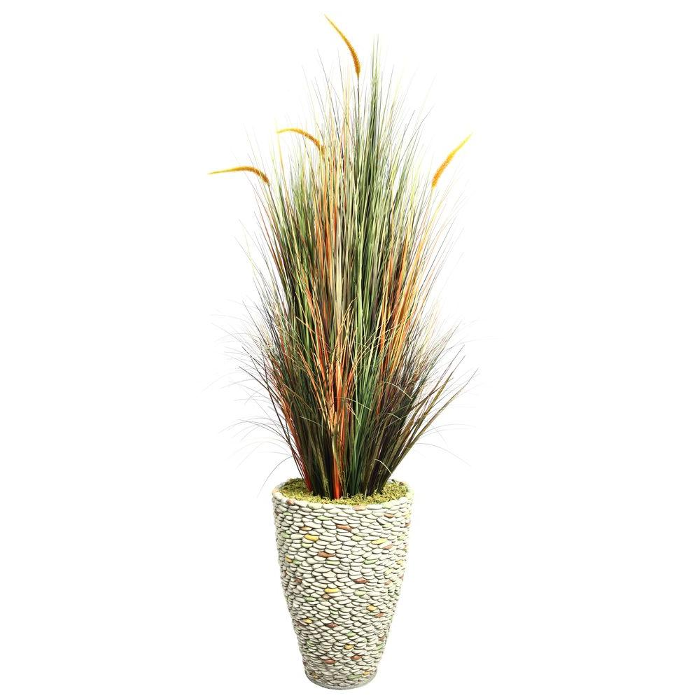 74 in. Tall Onion Grass with Cattails in 16 in. Fiberstone