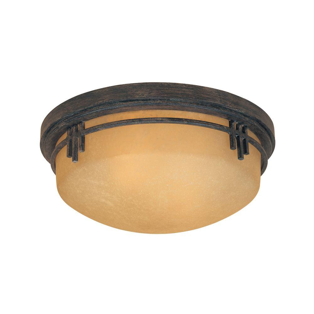Mission Hills Collection 2-Light Warm Mahogany Flushmounted Ceiling Light