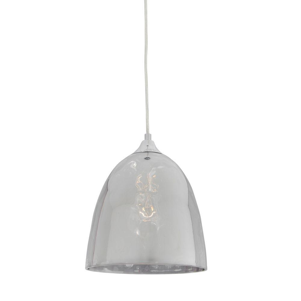 Alternating Current Pendant Lights Cognac 1-Light Polished Chrome Glass Mini Pendant with Chrome Glass AC1504