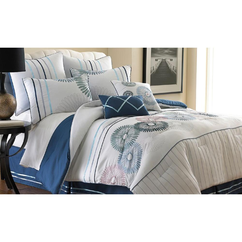Pacific Coast Textiles Quincy White/Blue 8-Piece Embroidered King Comforter Set