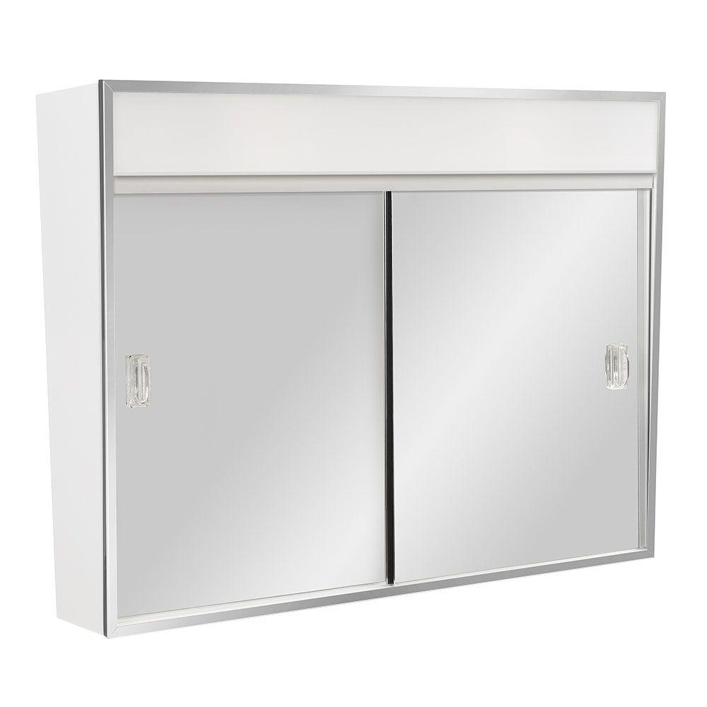 sliding door bathroom cabinet white 23 5 in w x 18 3 8 in h x 5 1 2 in d framed surface 26223