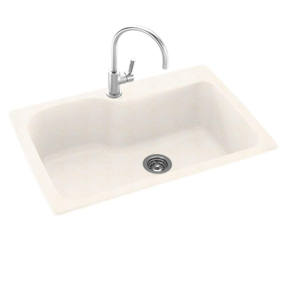 Swanstone Dual Mount Composite 33 in. 1-Hole Single Bowl Kitchen Sink