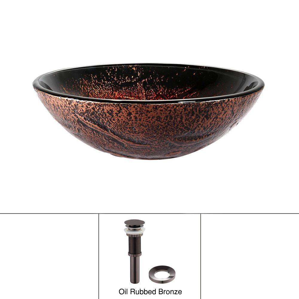 KRAUS Lava Glass Vessel Sink in Red and Brown with Pop up Drain and Mounting Ring in Oil Rubbed Bronze