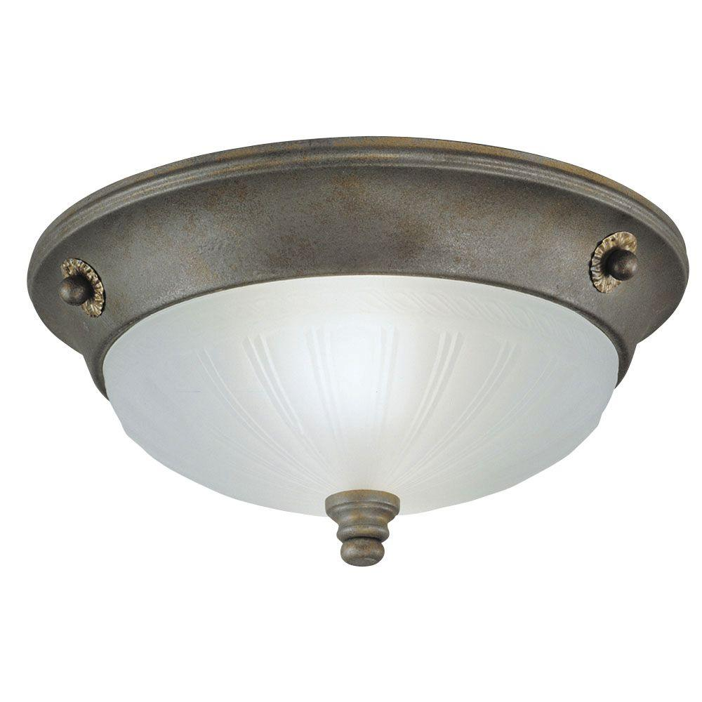 Westinghouse 2-Light Ceiling Fixture Excavated Bronze Interior Flush-Mount with