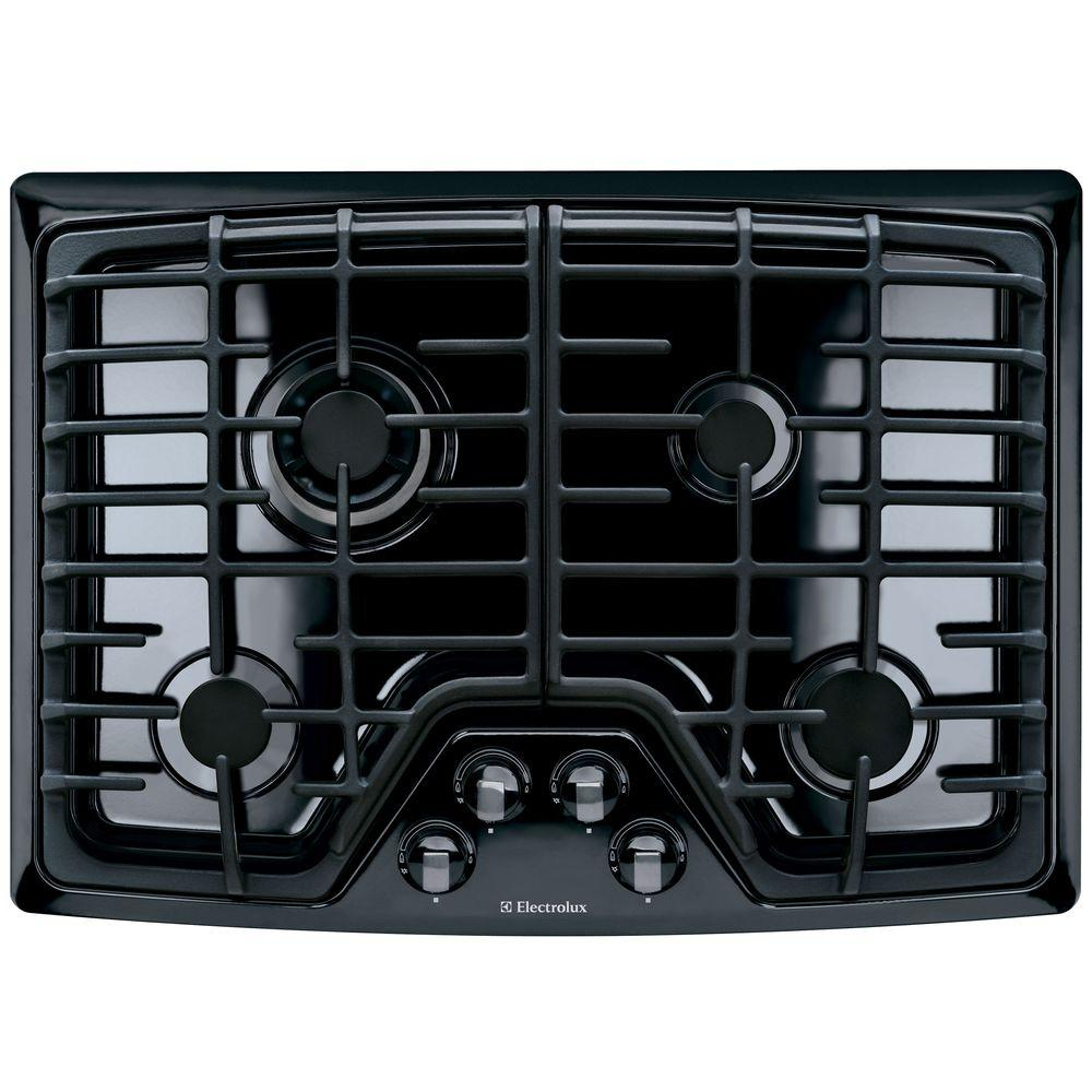 30 in. Deep Recessed Gas Cooktop in Black with 4 Burners