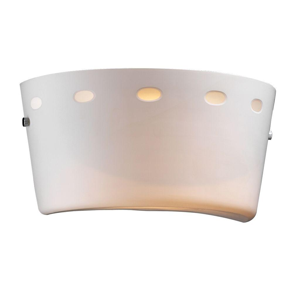 PLC Lighting 1-Light Polished Chrome Sconce with Matte Opal Glass