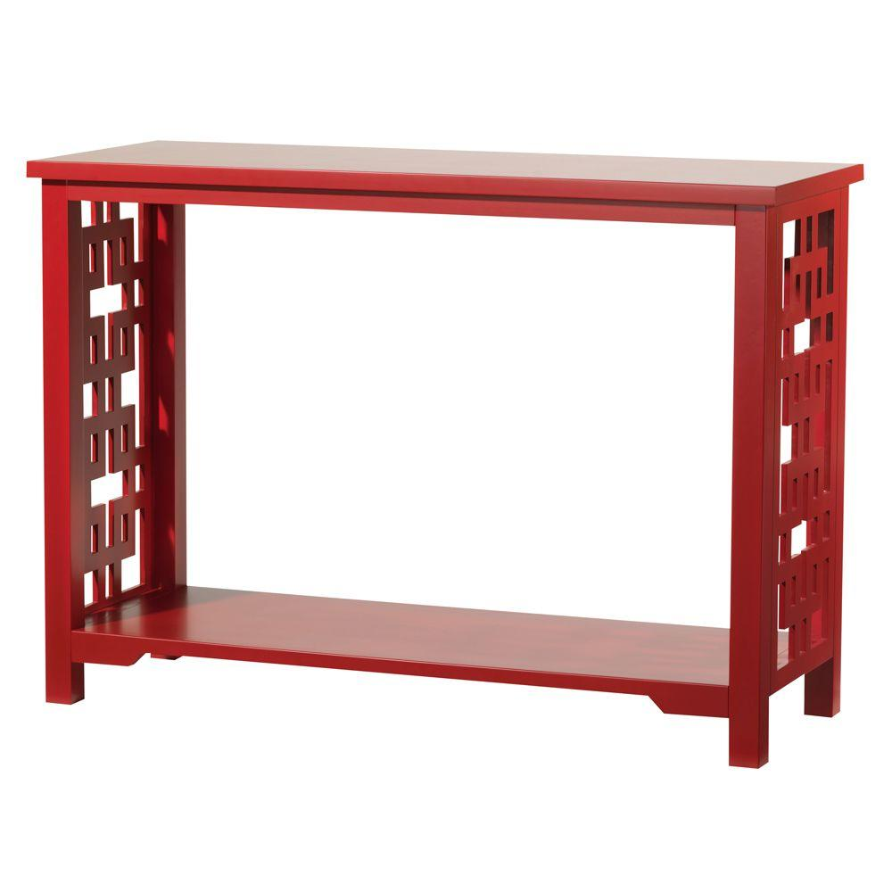 Home Decorators Collection Knot Console Table in Red-DISCONTINUED