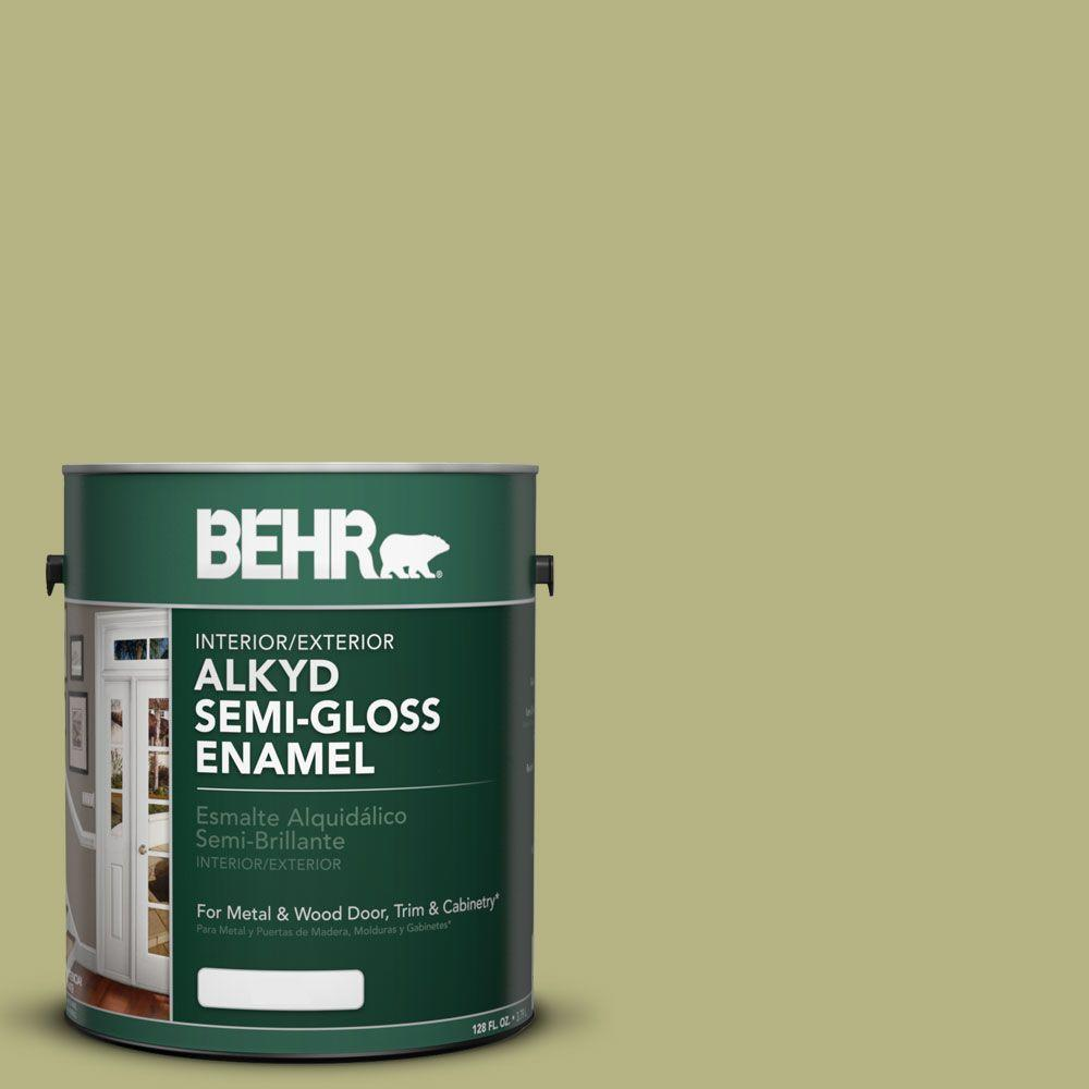 1-gal. #AE-33 Grassy Path Semi-Gloss Enamel Alkyd Interior/Exterior Paint