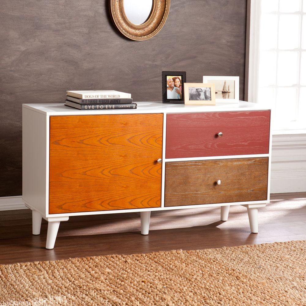 Colorblock Anywhere Storage Cabinet/Console in Multi-Toned Wood