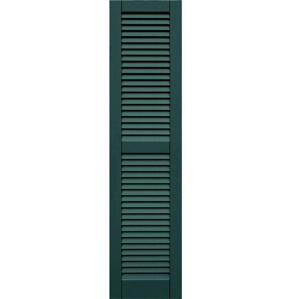 Winworks Wood Composite 15 in. x 62 in. Louvered Shutters Pair #633 Forest Green