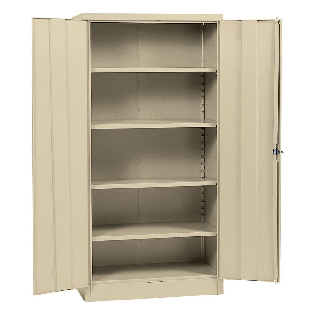 Sandusky 72 in. H x 36 in. W x 18 in. D Steel 5-Shelf Quick Assembly Freestanding Storage Cabinet in Putty