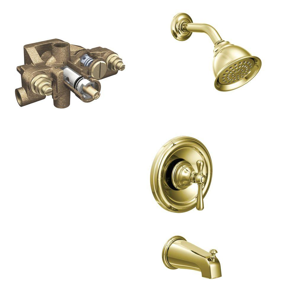MOEN Kingsley Single-Handle 1-Spray Tub and Shower Faucet Trim Kit with Valve in Polished Brass