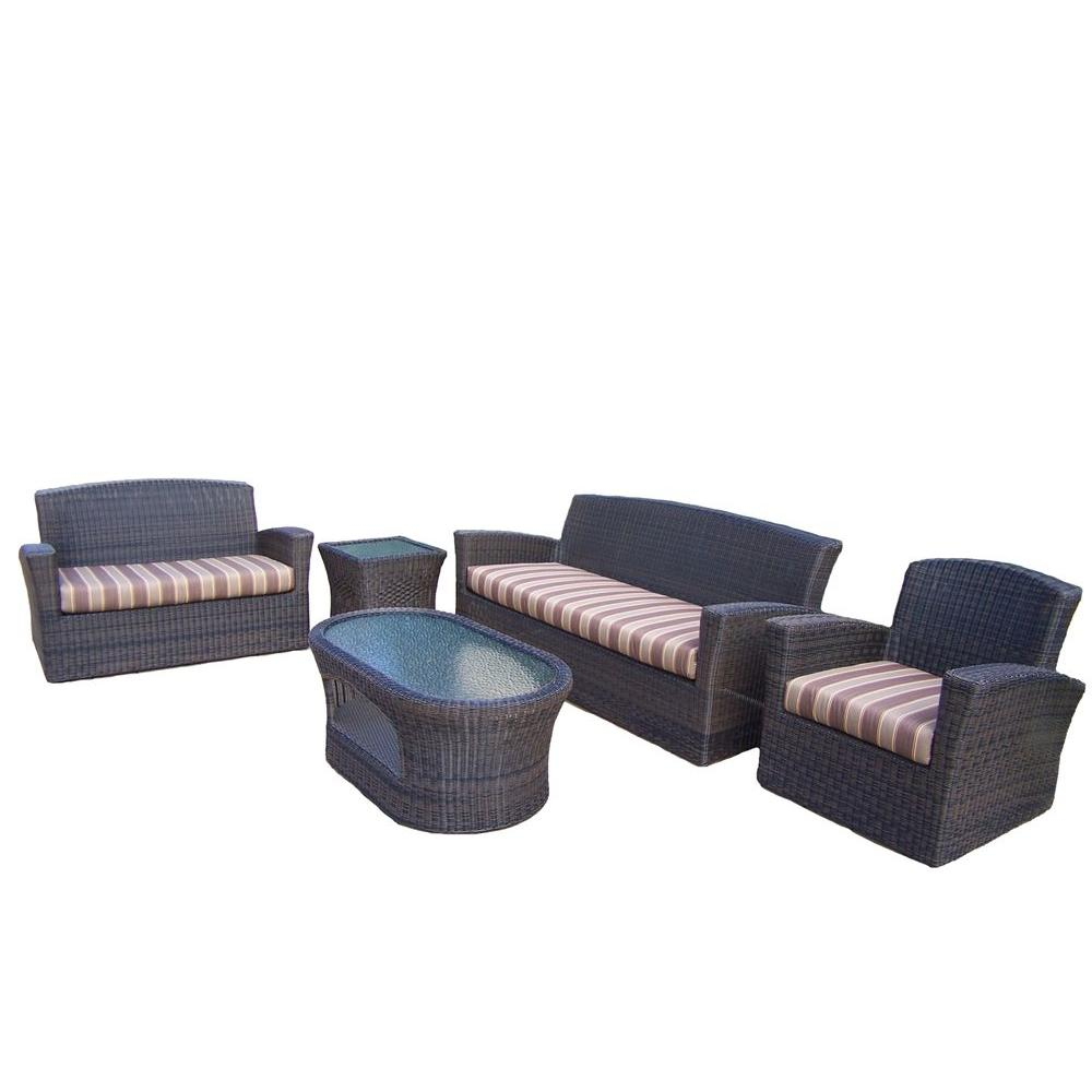 Oakland Living Savannah 5-Piece Patio Seating Set with Striped Maroon Cushions