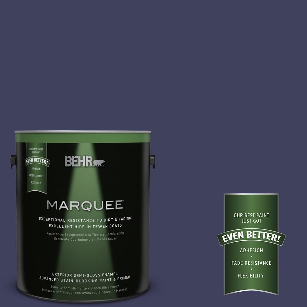 1-gal. #PMD-92 Darkest Navy Semi-Gloss Enamel Exterior Paint