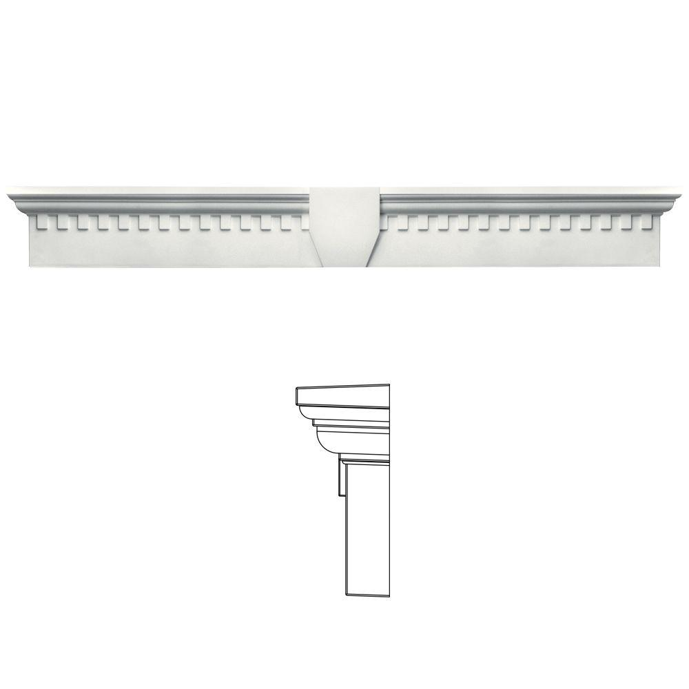 Builders Edge 9 in. x 73 5/8 in. Classic Dentil Window Header with Keystone in 123 White