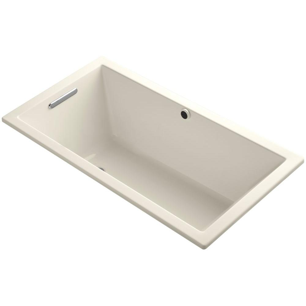 Underscore 5 ft. Reversible Drain Soaking Tub in Almond with Bask