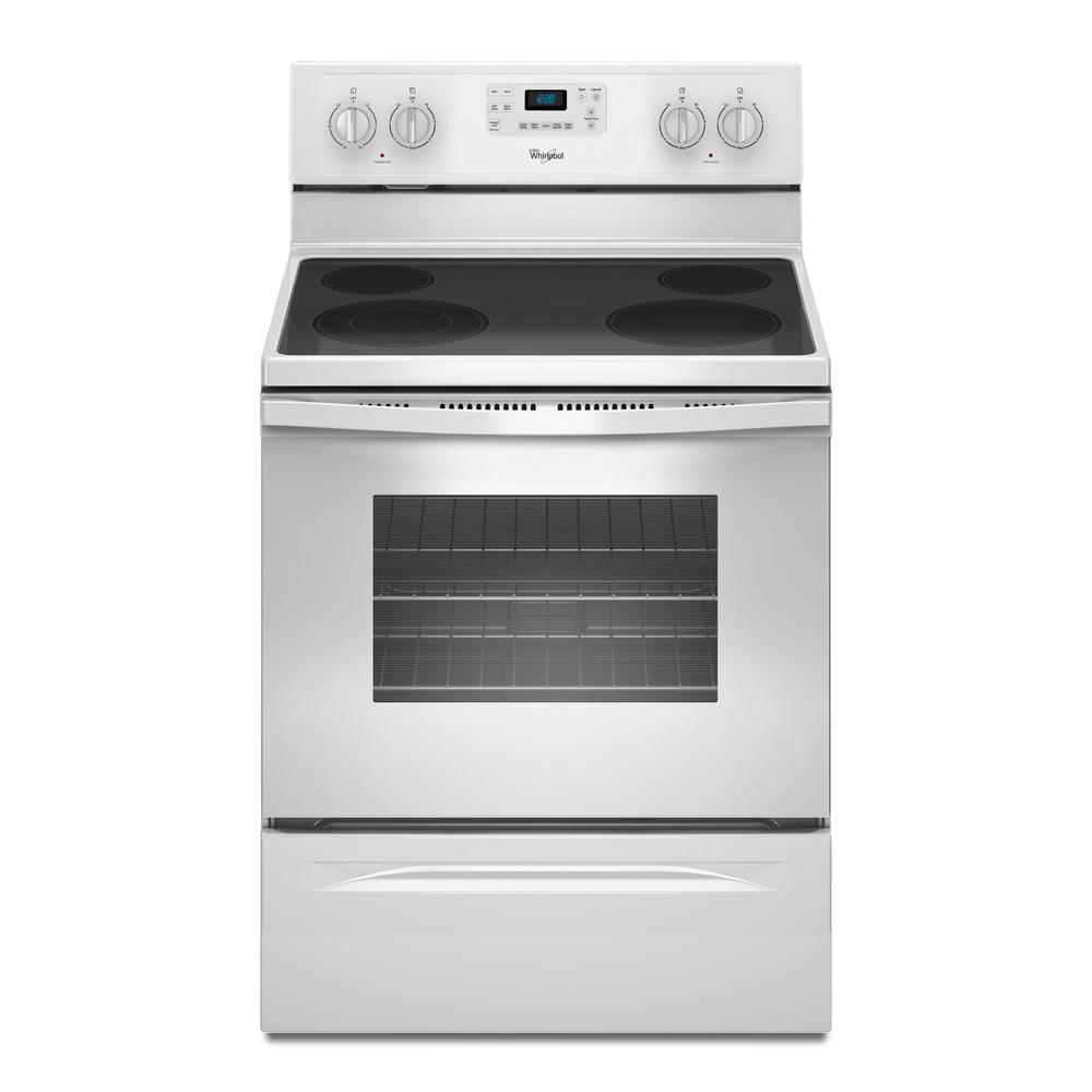 Whirlpool 5.3 cu. ft. Electric Range with Self-Cleaning Oven in White with SteamClean Option