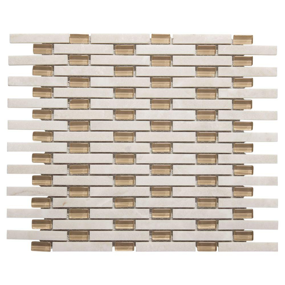 White Plains 13.75 in. x 11 in. x 8 mm Glass/White