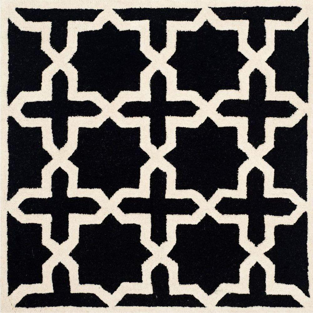 Cambridge Black/Ivory 4 ft. x 4 ft. Square Area Rug