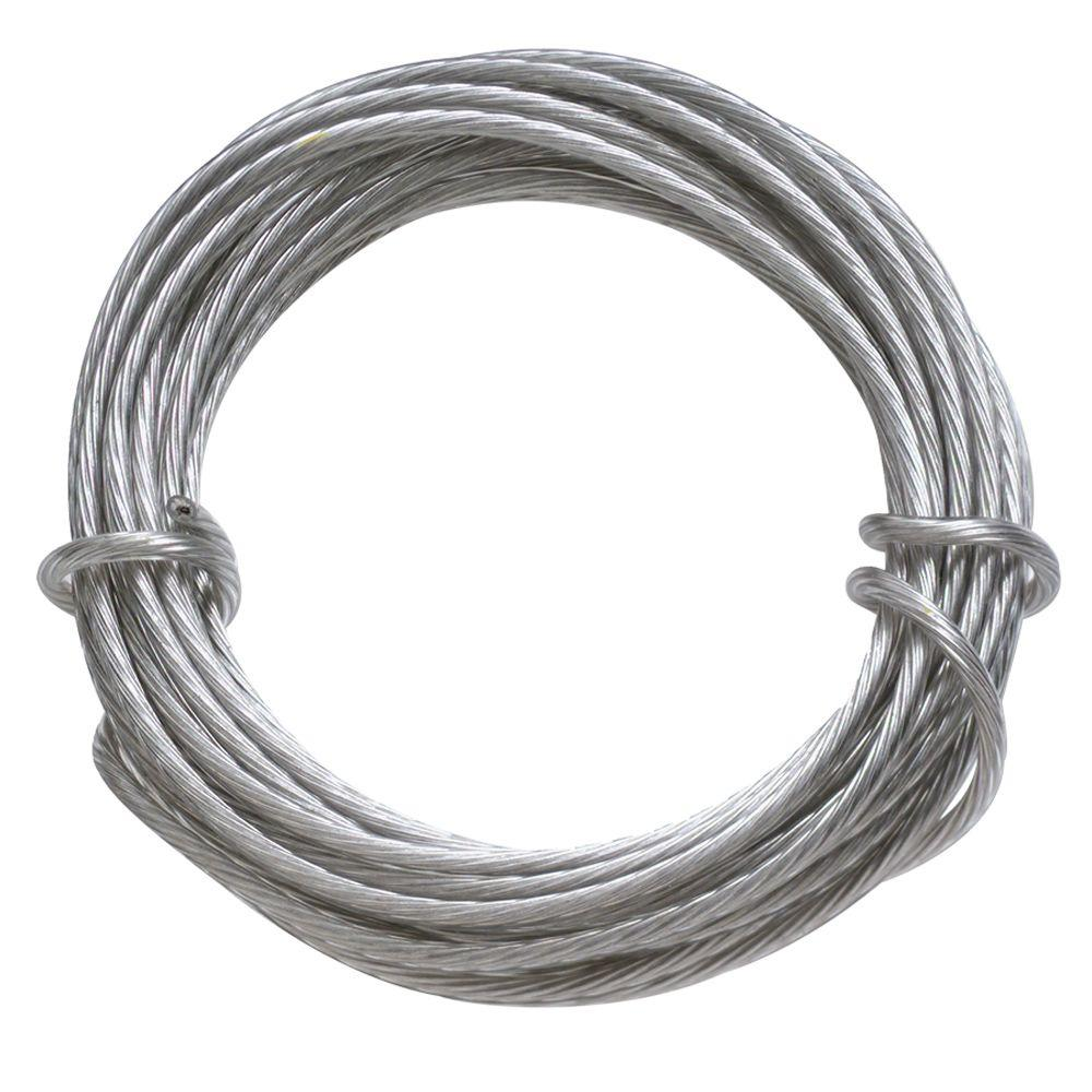 20 lb. 9 ft. Gallery Wire Coated Stainless Steel