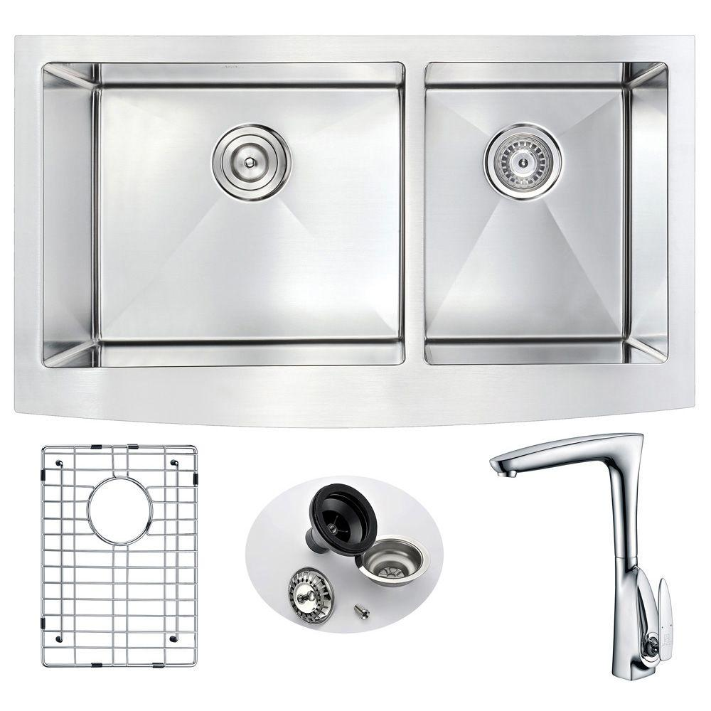 ELYSIAN Farmhouse Stainless Steel 33 in. Double Basin Kitchen Sink and