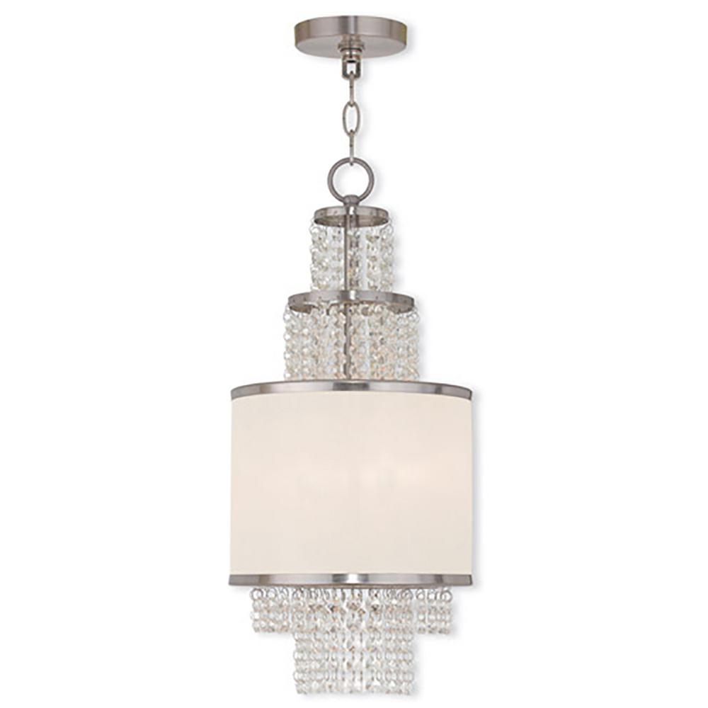 Prescott 2-Light Brushed Nickel Mini Chandelier with Off-White Sheer Organza