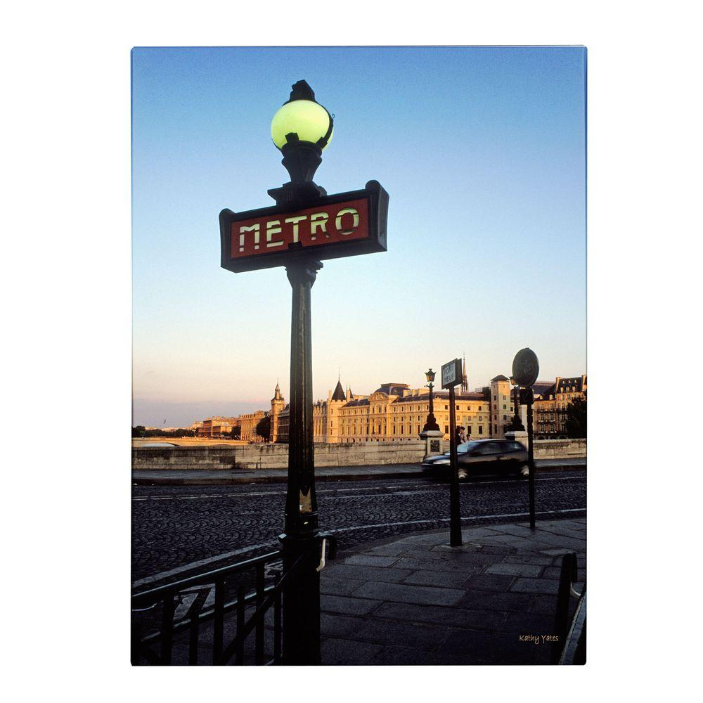Trademark Fine Art 32 in. x 22 in. Le Metro at Dusk Canvas Art