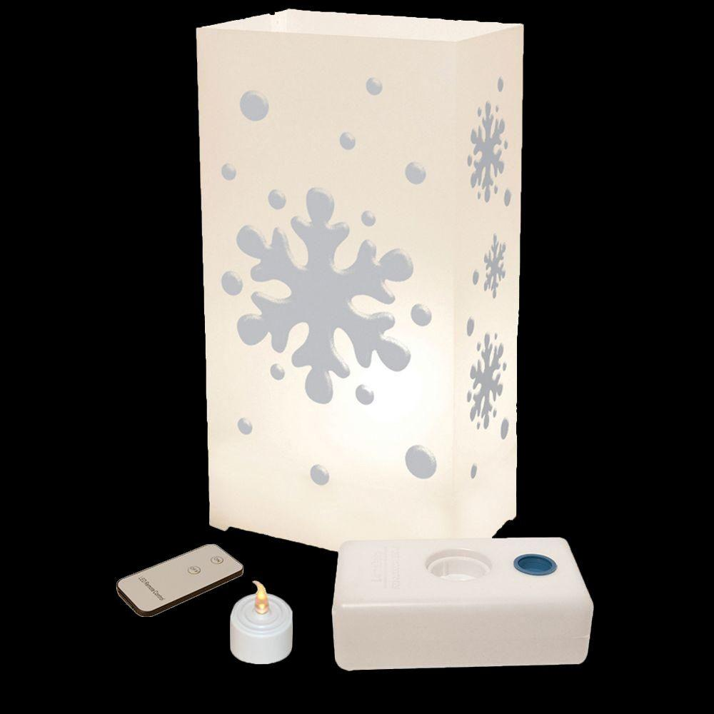 Lumabase LED Warm White Snowflake Luminaria Kit with Remote Control (Pack of 10)