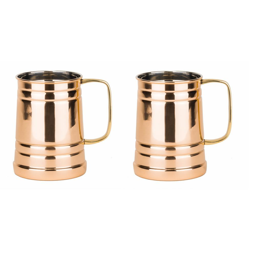 1 Pt. Solid Copper Tankard with Brass Handle (Set of 2)