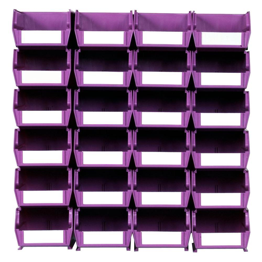 Triton Products LocBin Small Wall Storage Bin (24-Piece) with 2-Wall Mount Rails in Orchid