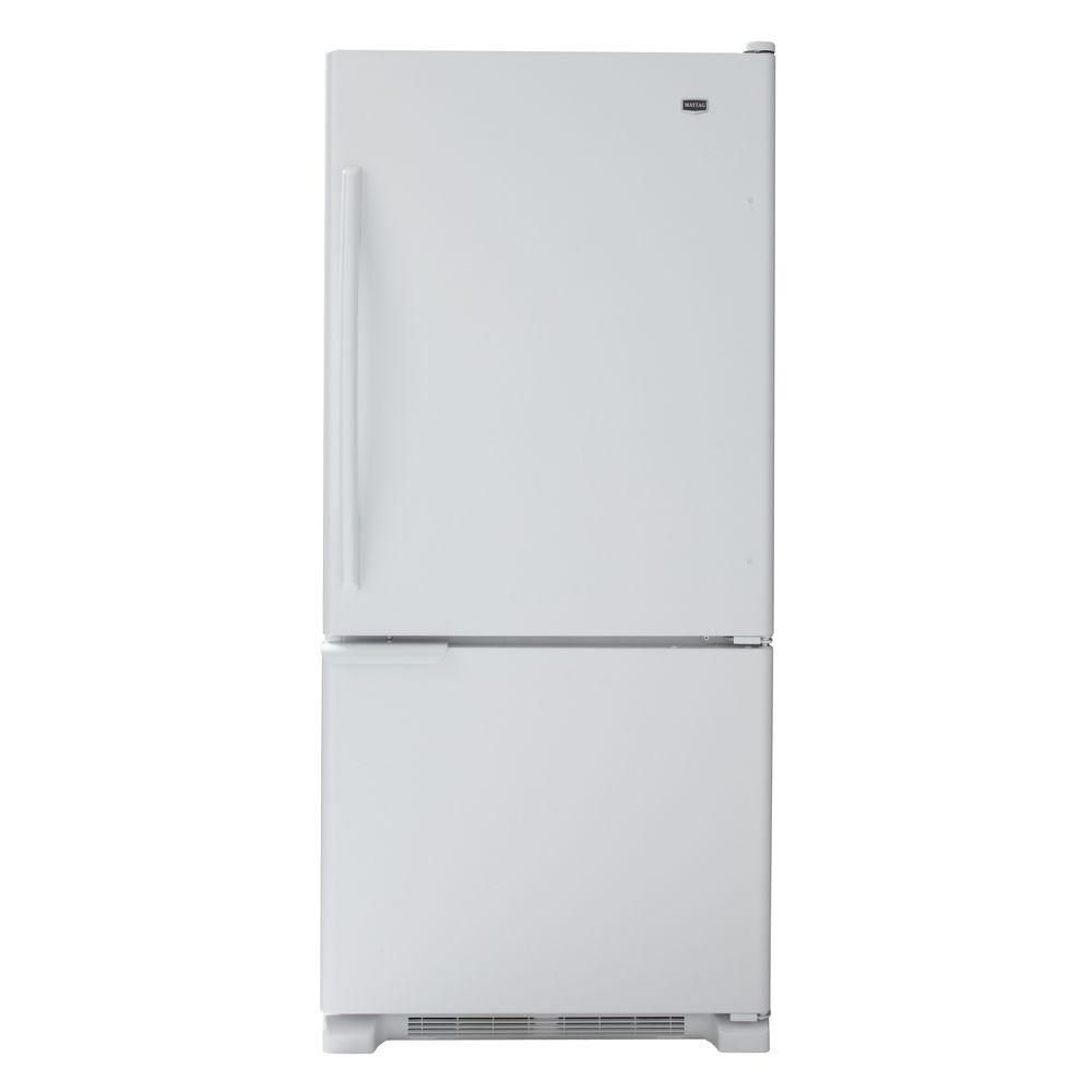 Maytag 30 in. W 18.5 cu. ft. Bottom Freezer Refrigerator in White-DISCONTINUED