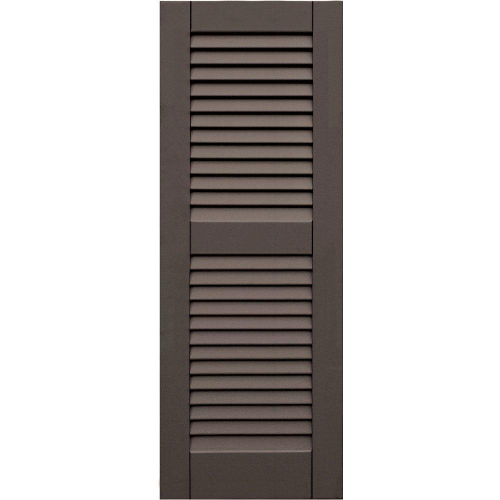 Winworks Wood Composite 15 in. x 41 in. Louvered Shutters Pair #641 Walnut