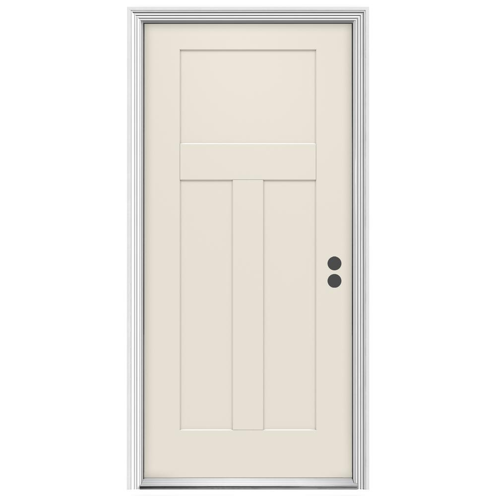 32 in. x 80 in. 3-Panel Craftsman Primed Prehung Left-Hand Inswing
