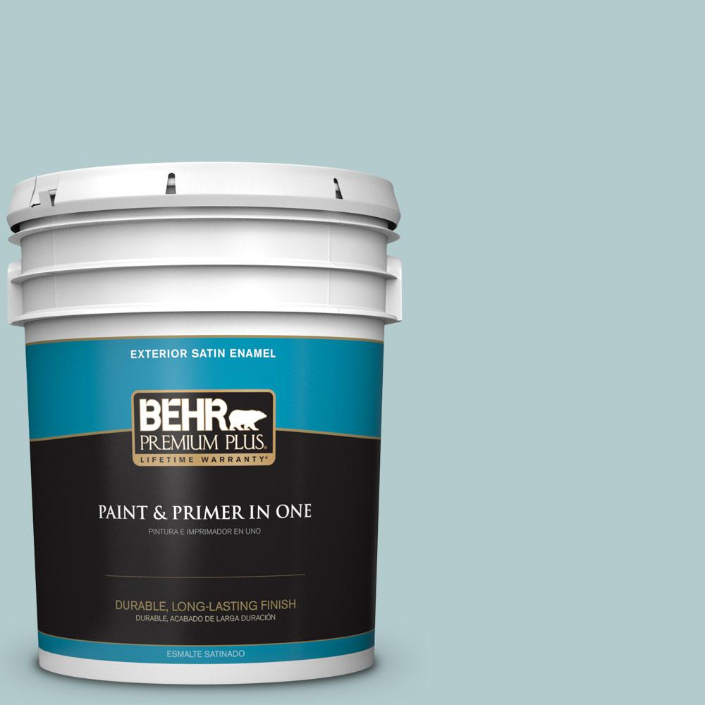 5 gal. #PPU13-15 Clear Pond Satin Enamel Exterior Paint