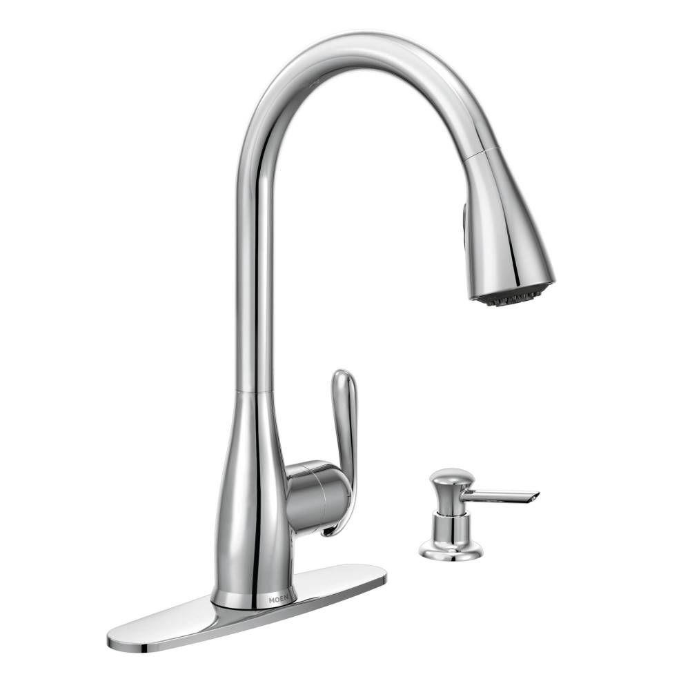 wonderful Moen 3 Piece Kitchen Faucet #7: Haysfield Single-Handle Pull-Down Sprayer Kitchen Faucet with Reflex in  Chrome