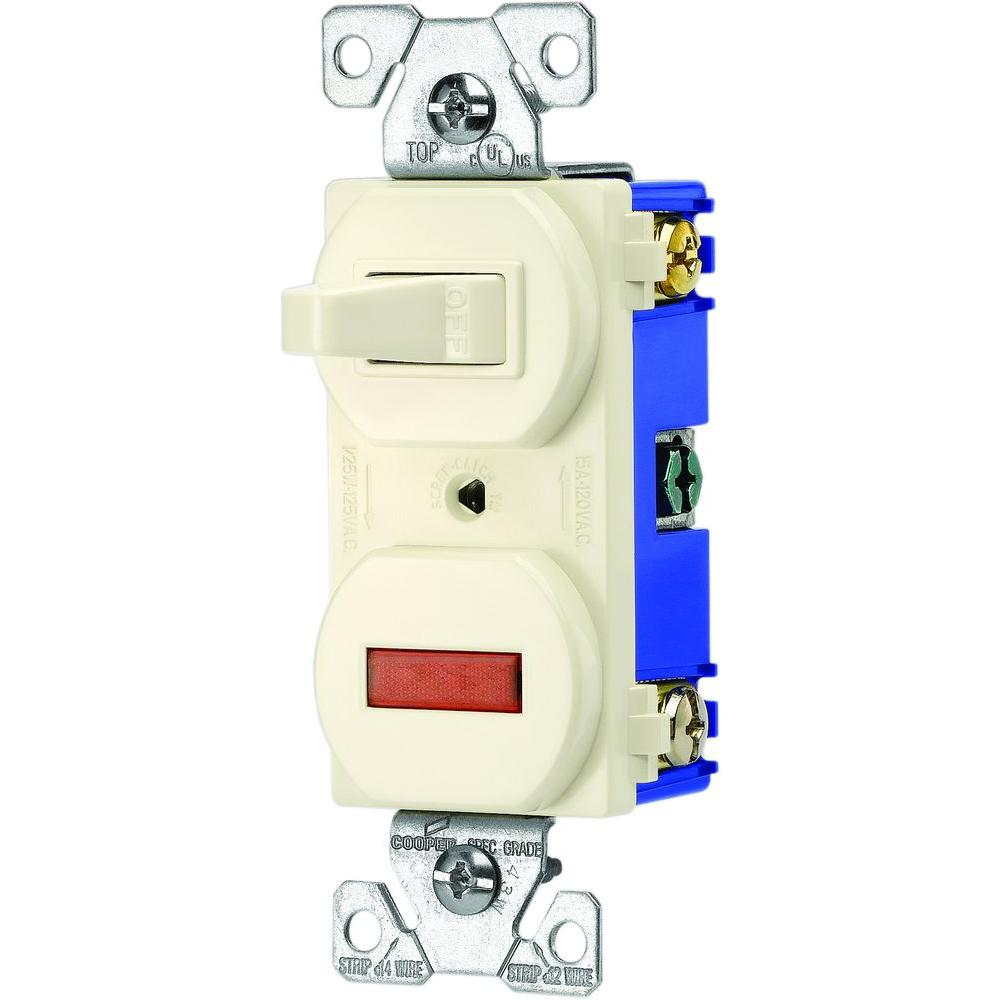 15 Amp Single Pole Combination Toggle Switch and Pilot Light, Almond